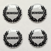 Laurel Black Skinheads and White Background Hankie Pin 10mm